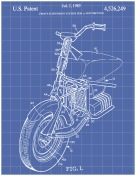 Motorcycle Patent on Blueprint