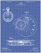 Pocket Watch Patent on Blueprint