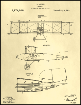 Airplane Patent on Parchment Printable Patent