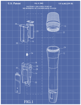 Battery Microphone Patent on Blueprint Printable Patent