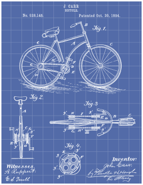 Bicycle Patent on Blueprint Printable Patent
