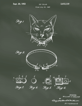 Cat Collar Patent on Chalkboard Printable Patent