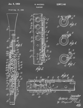 Clarinet Patent on Blackboard Printable Patent