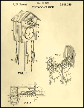 Cuckoo Clock Patent on Parchment Printable Patent