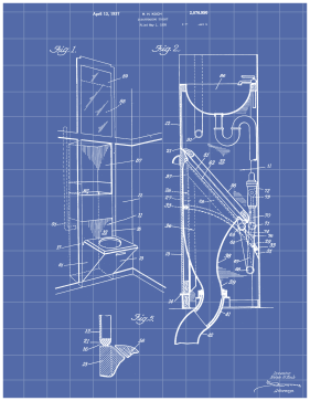 Disappearing Toilet Patent on Blueprint Printable Patent