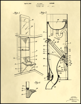 Disappearing Toilet Patent on Parchment Printable Patent