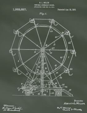 Ferris Wheel Patent on Chalkboard Printable Patent