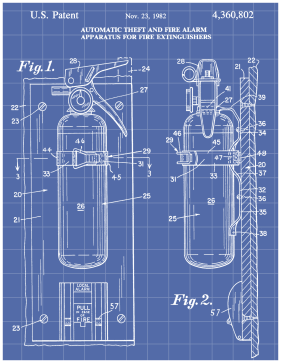 Fire Extinguisher Patent on Blueprint Printable Patent
