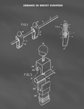Foosball Figurine Patent on Blackboard Printable Patent