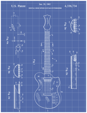 Guitar Patent on Blueprint Printable Patent