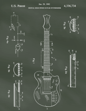 Guitar Patent on Chalkboard Printable Patent