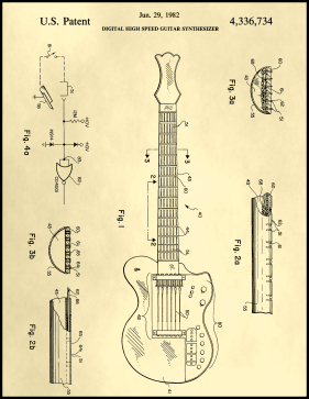 Guitar Patent on Parchment Printable Patent