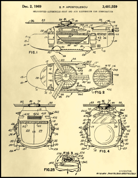 Helicopter Boat Car Patent on Parchment Printable Patent
