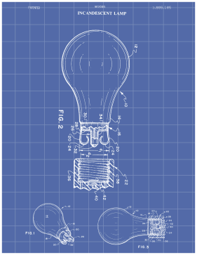 Light Bulb Patent on Blueprint Printable Patent