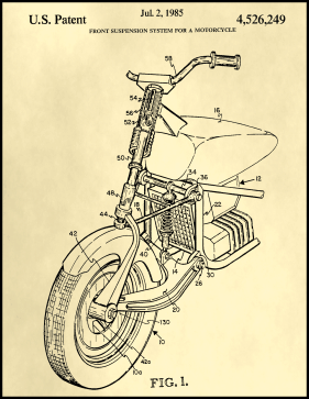 Motorcycle Patent on Parchment Printable Patent