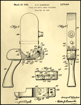 Movie Camera Patent on Parchment Printable Patent