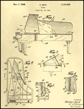 Piano Patent on Parchment Printable Patent