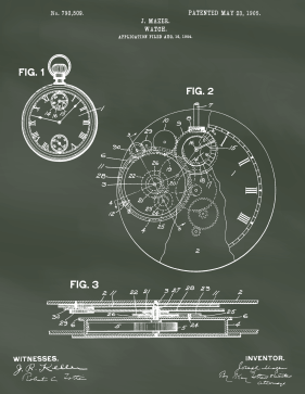 Pocket Watch Patent on Chalkboard Printable Patent