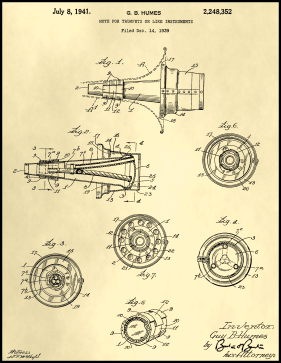 Trumpet Mute Patent on Parchment Printable Patent