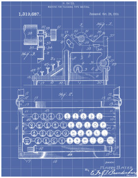 Typewriter Patent on Blueprint Printable Patent