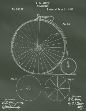 Velocipede Patent on Chalkboard Printable Patent