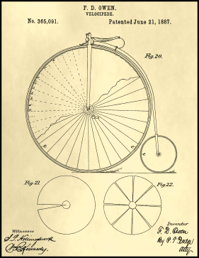 Velocipede Patent on Parchment Printable Patent